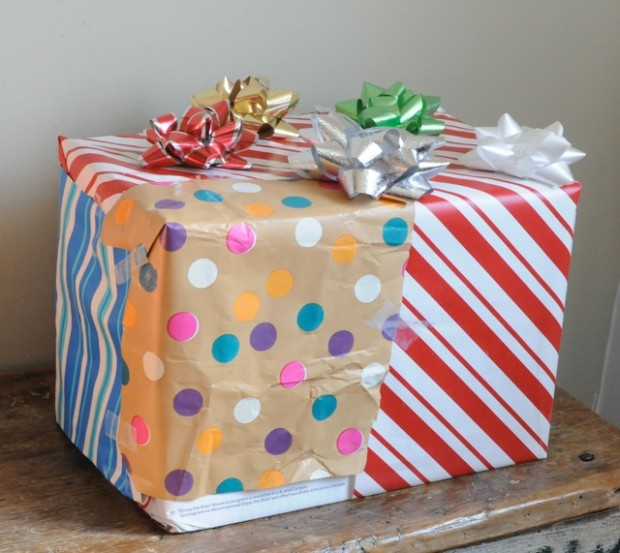patchwork wrapped gift