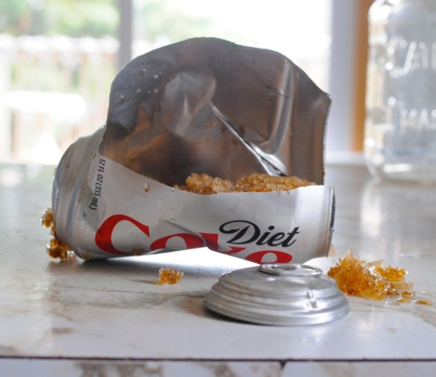 exploded diet coke can