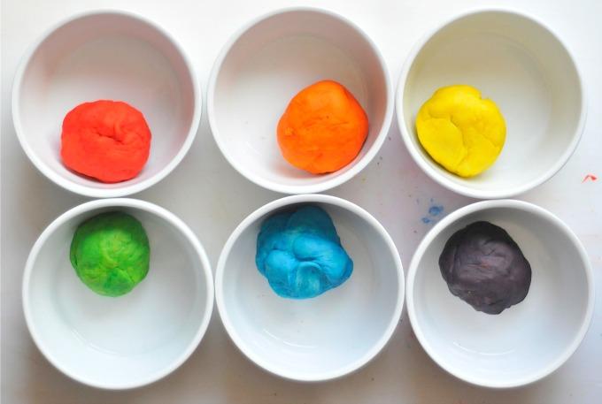rainbow dough balls