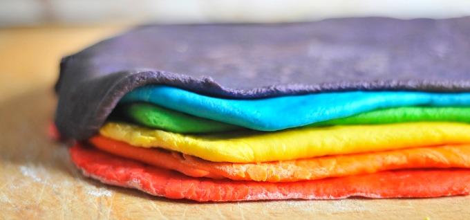 stacked rainbow dough