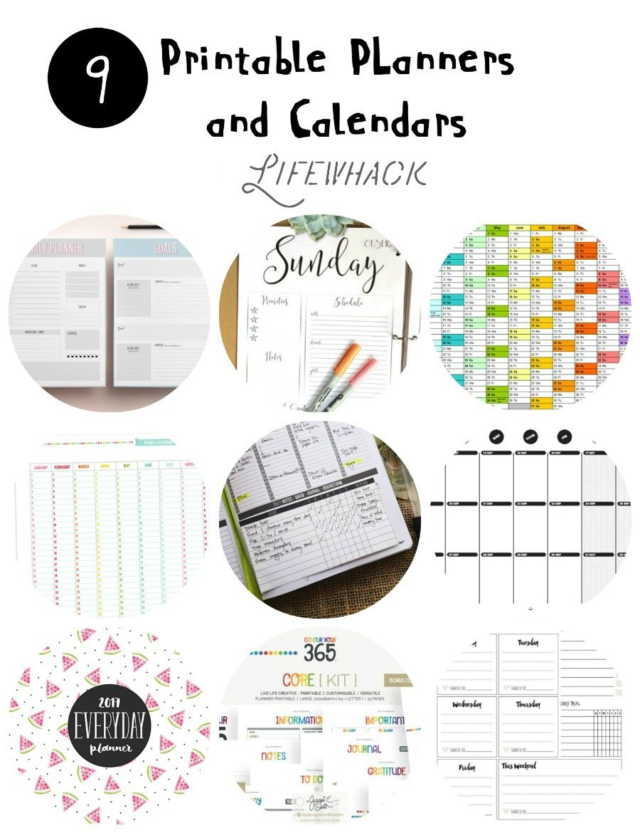 tons of printable planners and calendars