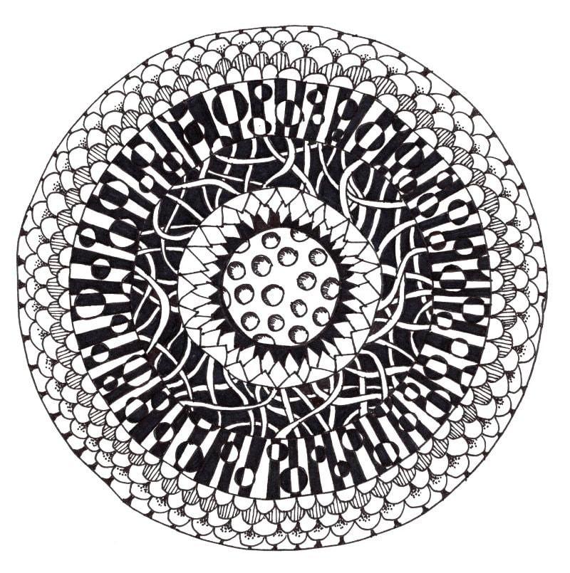 Bullseye Zentangle - how to zentangle; how to make cool zentangle designs