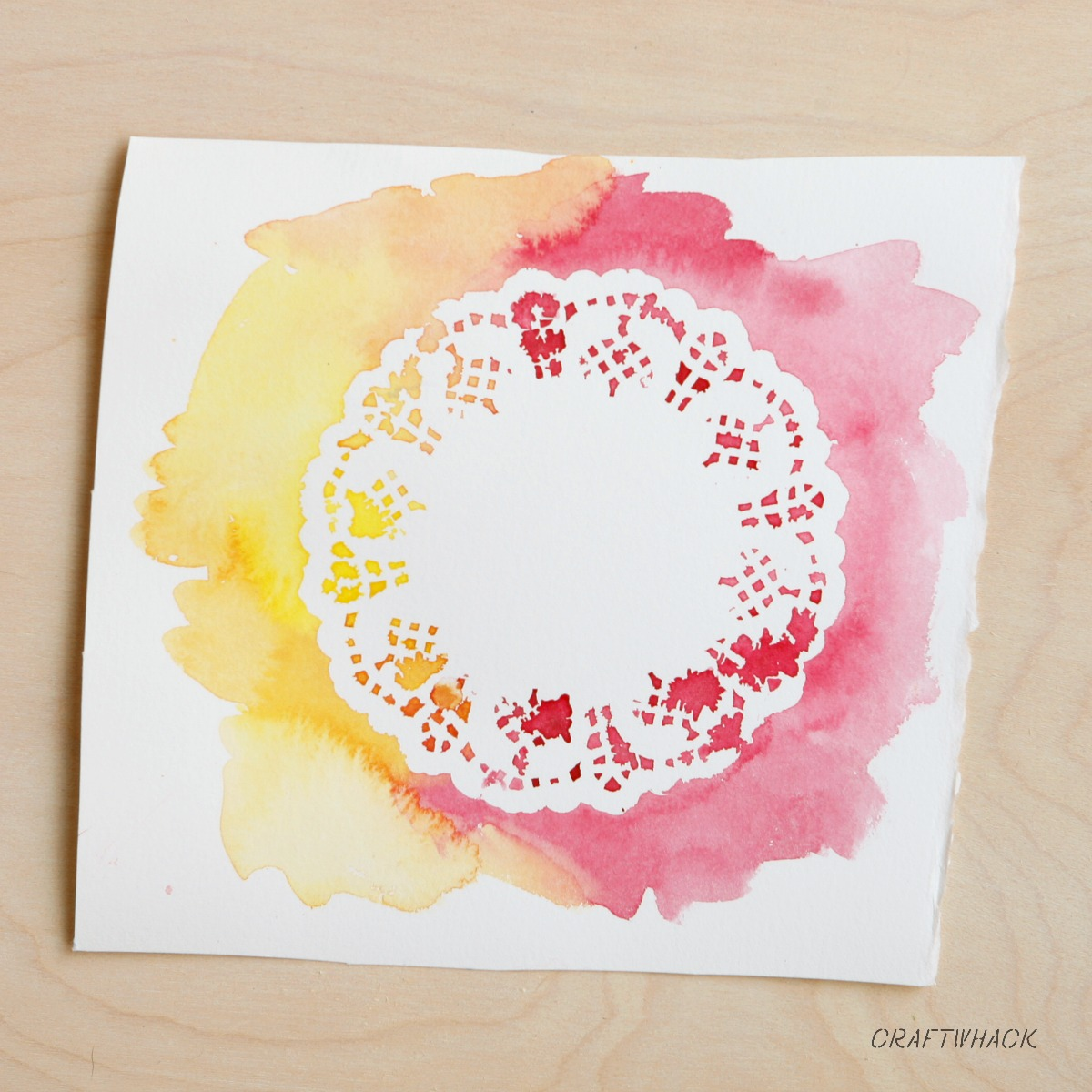 Watercolor doily painting and other watercolor techniques with stencils