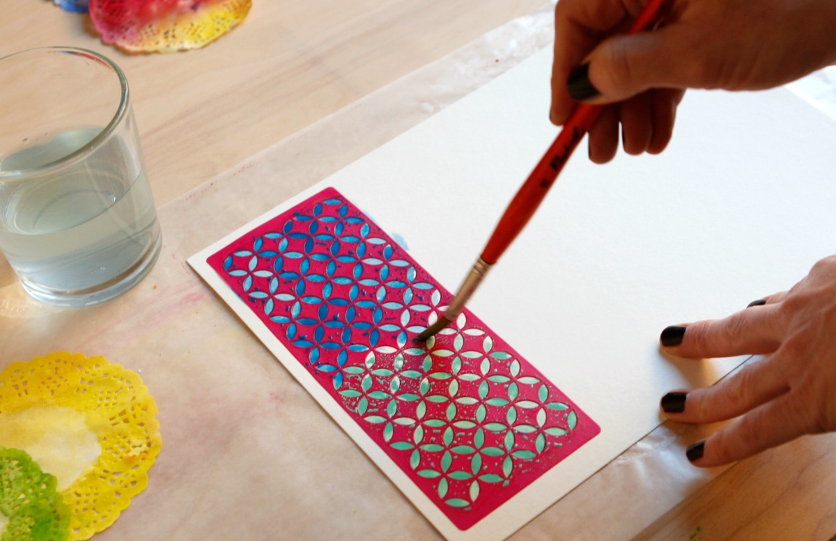 watercolor techniques with stencils