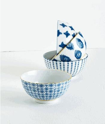 blue and white bowl set
