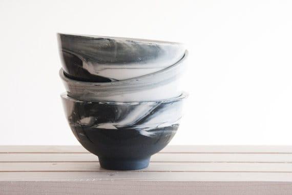 set of 3 bowls black and white marbleized glaze