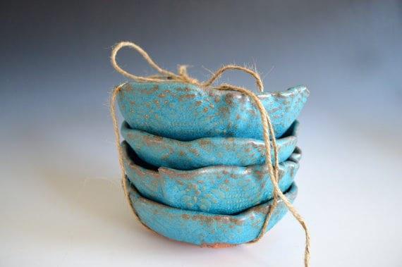 set of 4 handmade ice cream bowls