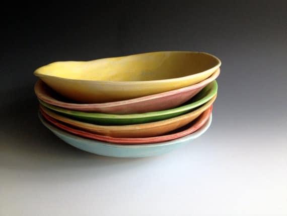 colorful pasta bowls