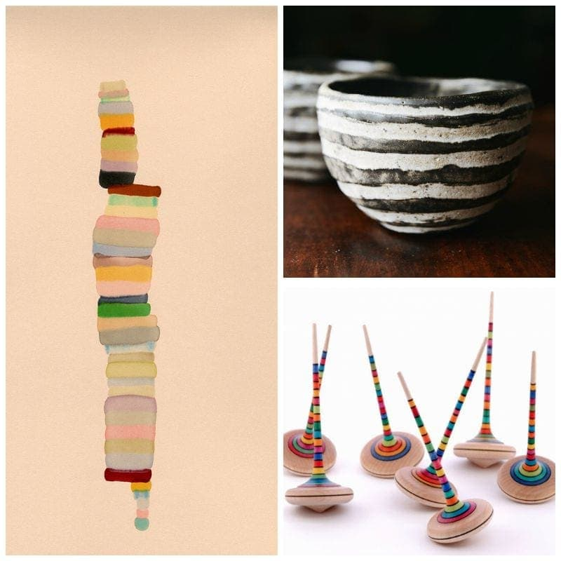 striped art and design objects: painting, bowl, tops