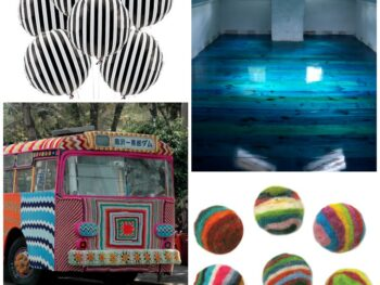 striped balloons, floor, knitted bus, rocks