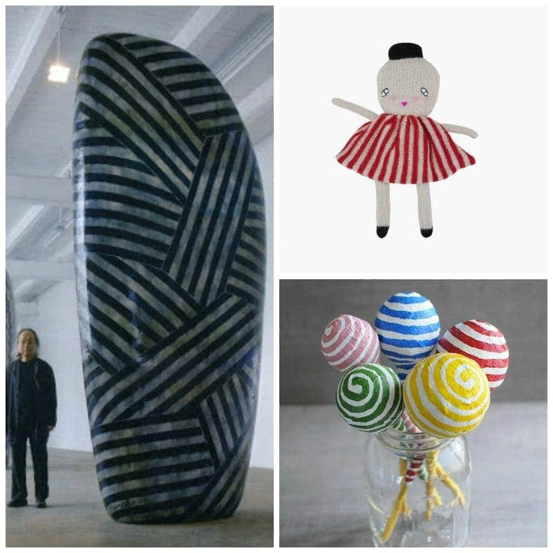 beautiful striped things: sculpture, doll, striped pencils